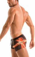 Geronimo Mens Black Swimwear Boxer Trunks .